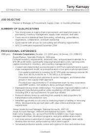 Sample Resume For A Planner Or Manager Of Procurement