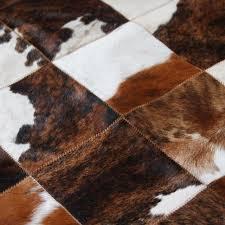tricolor patchwork cowhide rug