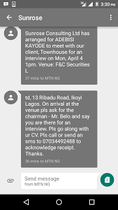 sunrose consulting interview on friday jobs vacancies 1 ia interview wit dere to meet dere client hw tru is dis msg bcs d address is different venue frm the first interview i did dem in dere office