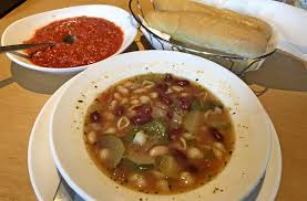to enlarge at olive garden soups like the vegan minestrone and breadsticks with marinara sauce are available