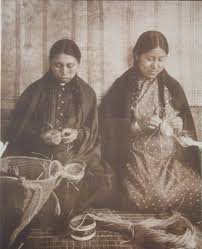Native American Women Weaving Baskets