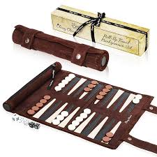 classy classics roll up suede leather backgammon game family fun travel set with easy storage and gift box com