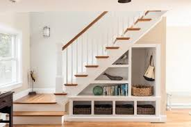 One way to make the space under your stairway useful is to create storage  by building drawers and shelves. It can be a place for guests to hang  jackets or ...