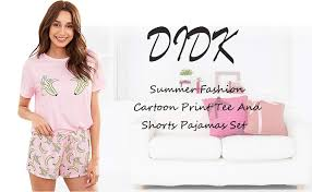 DIDK Women's <b>Cute Cartoon</b> Print Tee and Shorts Pajama Set at ...