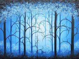 blue forest painting original oil painting tree art whimsical fairytale painting night