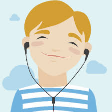 listening to music clipart. joyful boy listening music: illustration | clipart to music n