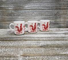 Blue rose polish pottery cherry red bouquet coffee mug. Vintage Red Rooster Coffee Mugs Hazel Atlas White Milk Glass Cups 1950 39 S Red White Kitchen Coffee Tea Drinker Gift Vintage Kitchen By Agogovintage From A Gogo Vintage Of Havre De Grace