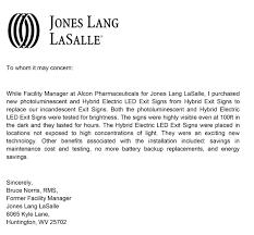 letters of endorsement hybrid exit signs jones lang lasalle endorsement letter