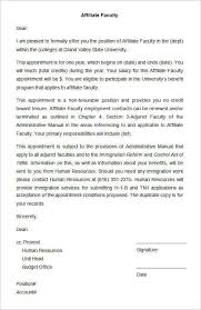 sle affiliate faculty appointment letter