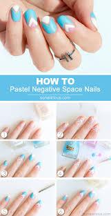 Pastel Negative Space Nail Art - Tutorial