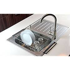 Over-The-Sink Kitchen Dish Drainer Rack, Durable Chrome-plated Steel (