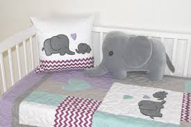 purple and gray elephant baby bedding designs
