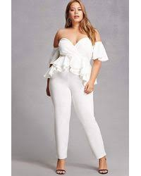 white jumpsuit plus size lyst forever 21 plus size peplum jumpsuit in white