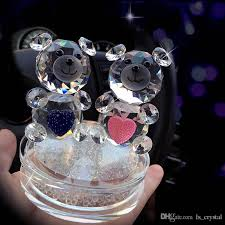 2019 fashion crystal bear figurines with the rhinestone base gl couple of heart bear for wedding gift novel ornament dec124 from ls crystal