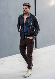 men s black leather biker jacket navy denim shirt dark brown cargo pants beige suede chelsea boots men s fashion lookastic com