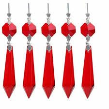 10pcs 55mm red window crystal chandelier glass lamp prisms parts hanging drop pendant lighting accessory home