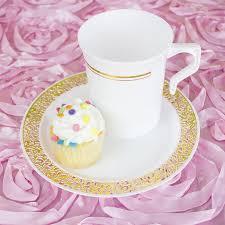 Decorating Plastic Tumblers 8 Pcs 8 Oz Gold Rim On White Glossy Plastic Cups
