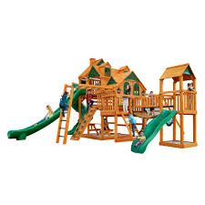 gorilla playsets empire extreme wooden playset with monkey bars and clatter bridge