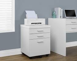com monarch specialties white hollow core 3 drawer file cabinet on castors kitchen dining