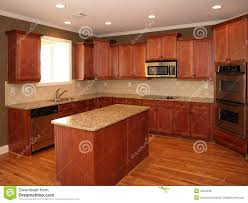 Wood Kitchen Luxury Cherry Wood Kitchen With Island Royalty Free Stock Photos