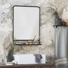 Black Distressed Industrial Mirror with Shelf PRE ORDER MID