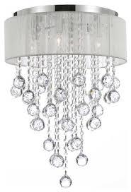 flush mount 4 light chrome and white shades crystal chandelier