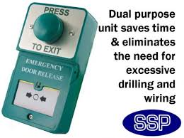 dual green domed press to exit on and emergency door release break glass unit