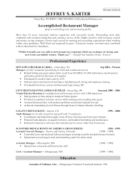 resume for restaurant professional experience for accomplidhed restaurant manager resume