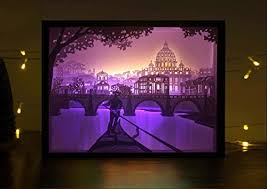 Decorative Light Boxes Papercut Light boxes 100D Shadow Box Led light night lamp Decorative 2