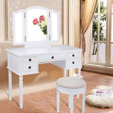 Makeup Table Black White Vanity Makeup Dressing Table With Tri Folding Mirror