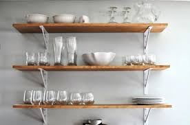 kitchen wall shelving 3 tier wooden shelves with white painted metal support ikea unit