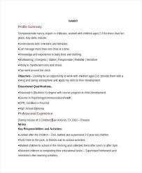 Nanny Resume Cover Letter Basic Nanny Resume Example Nanny Resume ...