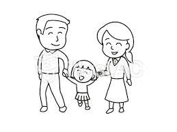 家族 親子で手をつなぐ 白黒イラスト No 1056497無料イラストなら