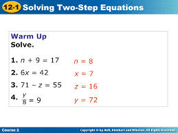 12 1 solving two step equations course 2 warm up warm up problem of 2 warm