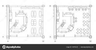 furniture floor plans. Standard Cafe Furniture Symbols On Floor Plans \u2014 Stock Vector