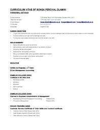 Resume Address Format Curriculum Vitae Of Personal Details Contact