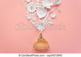 Paper Flower Perfume Flower Arrangement Flowers Fragrance Perfume On Pink Background