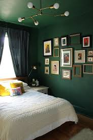a whole room done in forest green the walls and the ceiling for a trendy