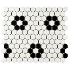 black and white hexagon tile floor.  White Merola Tile Metro Hex Matte White With Flower 1014 In X For Black And Hexagon Floor L