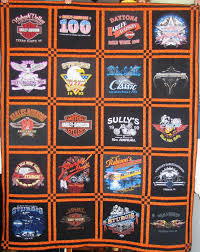Sarah's Shirt Tales & Two memory quilts made only with Harley-Davidson t-shirts. Due to the  additional patchwork needed for these quilts pricing is over my normal  rates. Adamdwight.com