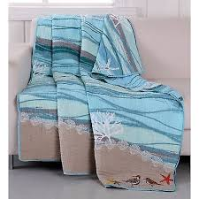 Quilted Throw Blanket Beach Tropical Birds Coral Blue Quilt Lap ... & Quilted Throw Blanket Beach Tropical Birds Coral Blue Quilt Lap Bed Sofa  Cover Adamdwight.com