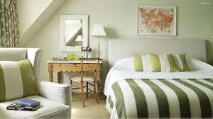 green and white rooms | Bedroom With Green White Stripe Design Wallpaper