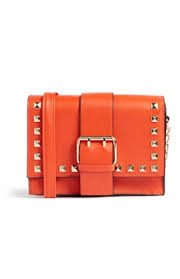Orange Stud Box Bag