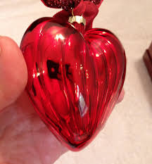 red mercury glass heart ornament with giftbox ornaments