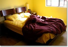 Charming Deep Purple And Yellow Bedroom