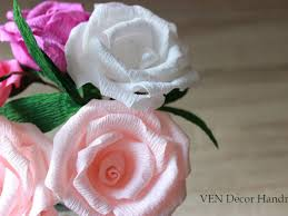 Paper Flower Stems 6 Paper Roses With Stems Rustic Wedding Centerpiece Wedding Table