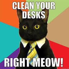clean your desk clean your desks right meow business cat