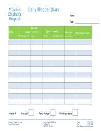Bladder Chart Diaries Fillable Online Monashchildrenshospital Bladder Diary Form