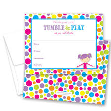 Polka Dot Invitations 24 Gymnastics Girl Bright Polka Dots Border Fill In Birthday Invitations