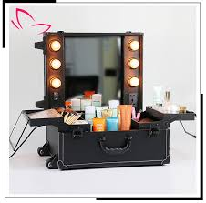 hot professional aluminum makeup case with led light